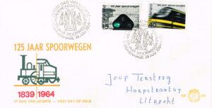 Nederland 1964 FDC 125 jaar Spoorwegen beschreven E65