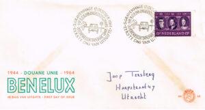 Nederland 1964 FDC 20 jaar Benelux Douane Unie beschreven E68