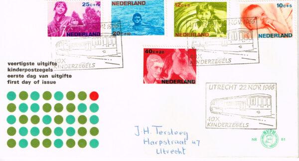 Nederland 1966 FDC Kinderzegels beschreven speciale stempel E81