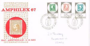 Nederland 1967 FDC Amphilex '67 beschreven speciale tentoonstelling stempel E85