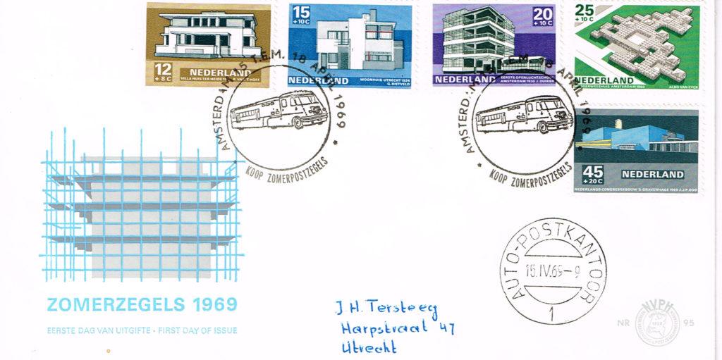 Nederland 1969 FDC Zomerzegels beschreven met stempel rijdend postkantoor E95