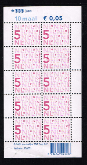 Nederland 2005 bijplakzegels 10x 0.05 TNT Velletje NVPH V2136cc