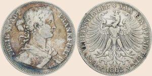 "Duitsland 1860 1 Vereinstaler ""FREIE STADT FRANKFURT"" silber 900"