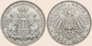 """Duitsland 1912 3 Mark """"FREIE UND HANSESTADT HAMBURG"""" 1908-1914 Silber (900)"""