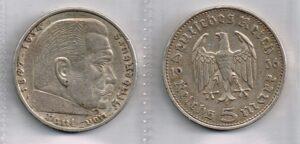 Duitsland 1936 5 Reichsmark, 1935-1936, Silber (900)
