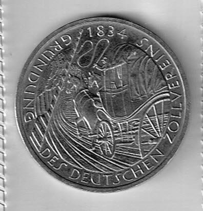 Duitsland 1984 5 Dm Münze Gründung Des Deutschen Zollvereins 1834