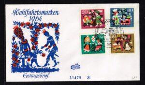 """Duitsland (BRD) 1964 serie 'Wohlfahrt. """"Dornröschen"""" Ersttagsbrief nr 447-450"""