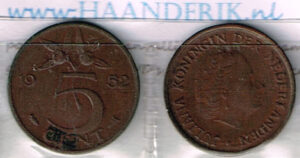 Koninkrijksmunten Nederland 1952 koningin Juliana 5 cent