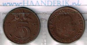 Koninkrijksmunten Nederland 1953 koningin Juliana 5 cent