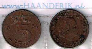 Koninkrijksmunten Nederland 1954 koningin Juliana 5 cent