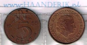 Koninkrijksmunten Nederland 1955 koningin Juliana 5 cent