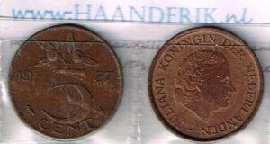 Koninkrijksmunten Nederland 1956 koningin Juliana 5 cent