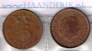 Koninkrijksmunten Nederland 1961 koningin Juliana 5 cent