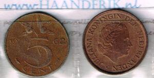 Koninkrijksmunten Nederland 1962 koningin Juliana 5 cent