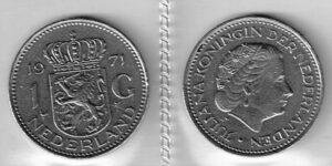 Koninkrijksmunten Nederland 1971 1 gulden Juliana