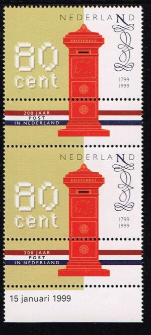 Nederland 1999 200 jaar Nationaal Postbedrijf NVPH 1810 2 stuks