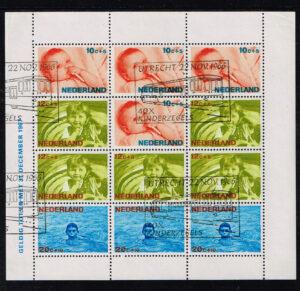 Nederland 1966 gestempeld Kinderzegel blok NVPH 875