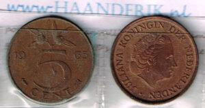 Koninkrijksmunten Nederland 1963 koningin Juliana 5 cent
