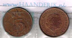 Koninkrijksmunten Nederland 1964 koningin Juliana 5 cent