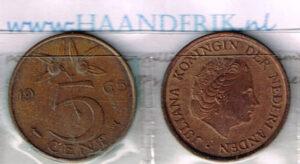 Koninkrijksmunten Nederland 1965 koningin Juliana 5 cent