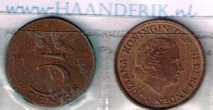 Koninkrijksmunten Nederland 1967 koningin Juliana 5 cent