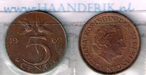 Koninkrijksmunten Nederland 1969 koningin Juliana 5 cent vis