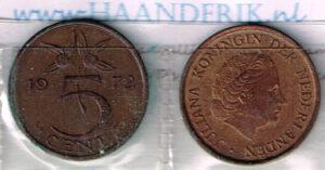 Koninkrijksmunten Nederland 1972 koningin Juliana 5 cent