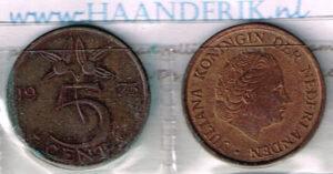 Koninkrijksmunten Nederland 1973 koningin Juliana 5 cent