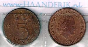 Koninkrijksmunten Nederland 1974 koningin Juliana 5 cent