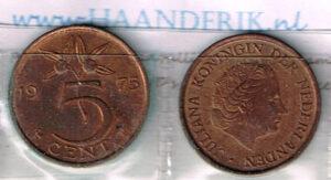 Koninkrijksmunten Nederland 1975 koningin Juliana 5 cent