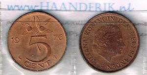 Koninkrijksmunten Nederland 1976 koningin Juliana 5 cent