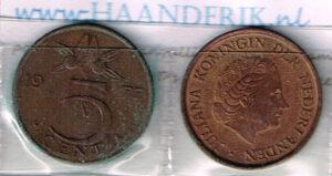 Koninkrijksmunten Nederland 1977 koningin Juliana 5 cent