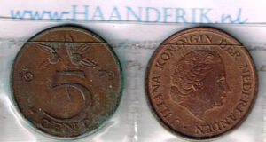 Koninkrijksmunten Nederland 1979 koningin Juliana 5 cent
