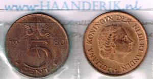 Koninkrijksmunten Nederland 1980 koningin Juliana 5 cent