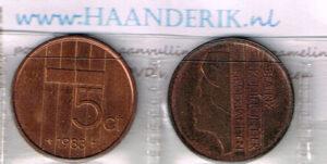 Koninkrijksmunten Nederland 1983 koningin Beatrix 5 cent