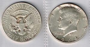"""United States of America 1964 ½ Dollar """"Kennedy Half Dollar"""" 90% Silver"""