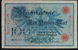 Duitsland 1908 Reichsbanknote 100 Mark Ro. 33b met letter Q