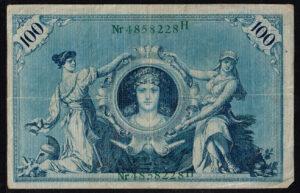 Duitsland 1908 Reichsbanknote 100 Mark Ro. 34 met letter H