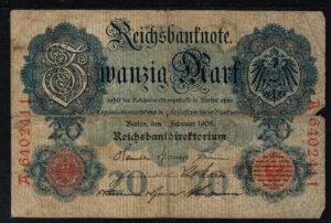 Duitsland 1908 Reichsbanknote 20 mark Catalogusnummer: Wor:P-31, Ros:R-31