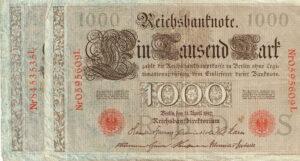 Duitsland 1910 Reichsbanknote 1000 Mark Catalogusnummer: Wor:P-44b/1, Ros:R-45c letter S