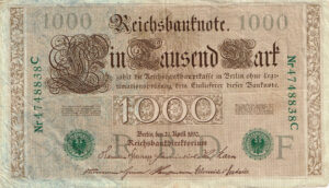 Duitsland 1910 Reichsbanknote 1000 Mark Catalogusnummer: World Paper Money P-45a Rosenberg R-46a letter F