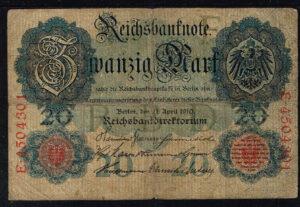 Duitsland 1910 Reichsbanknote 20 mark Catalogusnummer: Wor:P-40b, Ros:R-40b