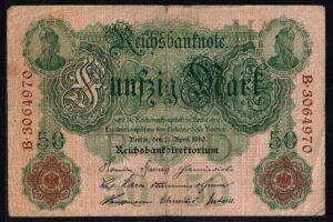 Duitsland 1910 Reichsbanknote 50 Mark Ro. 42 met letter H
