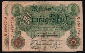 Duitsland 1910 Reichsbanknote 50 Mark Ro. 42 met letter T