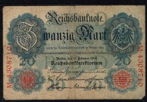 Duitsland 1914 Reichsbanknote Catalogusnummer: Wor:P-46b, Ros:R-47b D