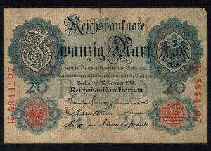 Duitsland 1914 Reichsbanknote Catalogusnummer: Wor:P-46b, Ros:R-47b K