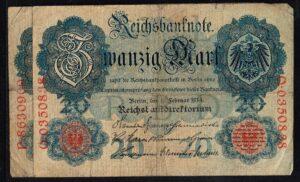 Duitsland 1914 Reichsbanknote Catalogusnummer: Wor:P-46b, Ros:R-47b L
