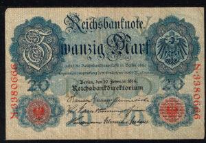 Duitsland 1914 Reichsbanknote Catalogusnummer: Wor:P-46b, Ros:R-47b V