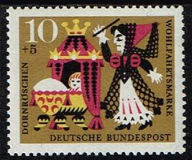 """Duitsland (BRD) 1964 zegel 10 pf 'Wohlfahrt. """"Dornröschen"""" nr 447"""