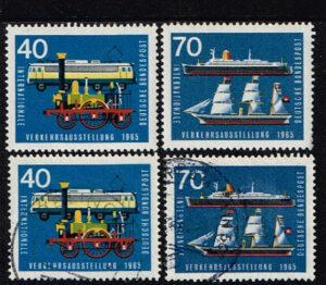 Duitsland (BRD) 1965 zegels Verkehrsausstellung München 40 en 70 pf nr 472 en 474